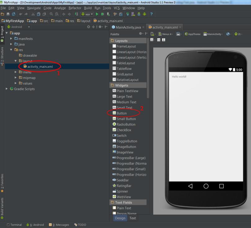 Criando layout e adicionando um botão