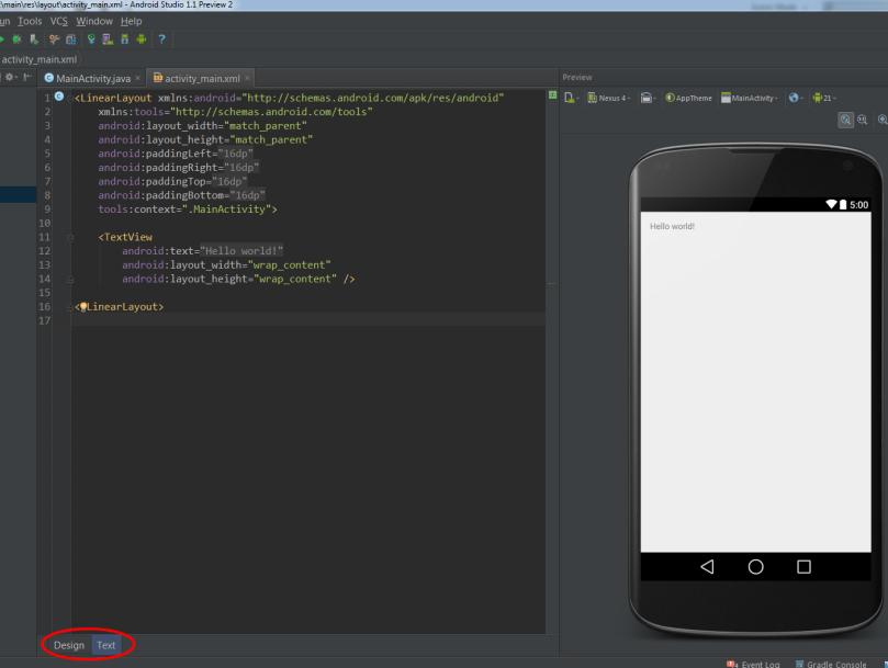 Construindo layout via código xml