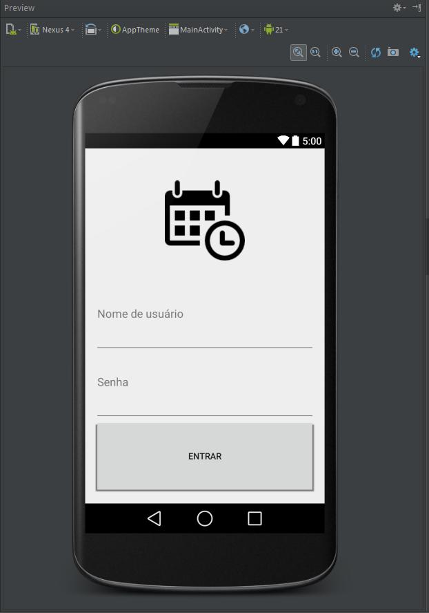 Preview do layout com ImageView, EditText e Button